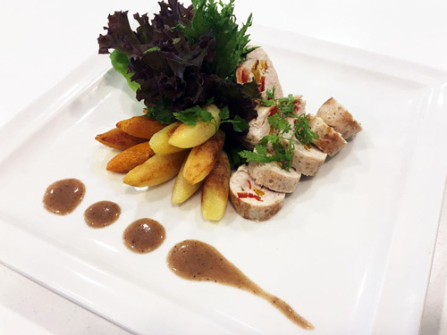 Chicken Roulade with Roasted Pumpkin and Potatoes